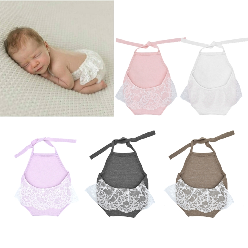 Baby Lace Romper Lace Backless Halter Romper Newborn Photography Props Princess Clothes