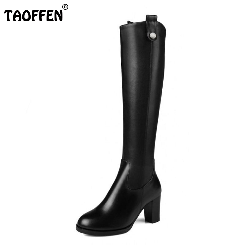 ФОТО Women Natural Real Leather Knee Boots Winter Snow Boots Sexy Square Heel Fashion Zipper Women Riding Boots Shoes Plus Size 31-45