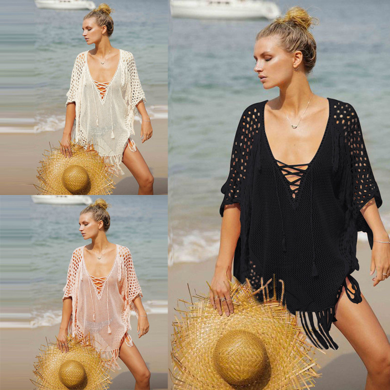 Beach Cover ups Hollow Out Lace Tunic Tassel Swimwear Shawl Women Backles Bikini Saida de Praia Cover ups Female