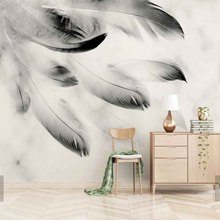 bfe846268ad89 3D مجردة أسود أبيض ريشة الحيوان ريشة جدارية ل أريكة التلفزيون خلفية ورق  الحائط رولز طباعة