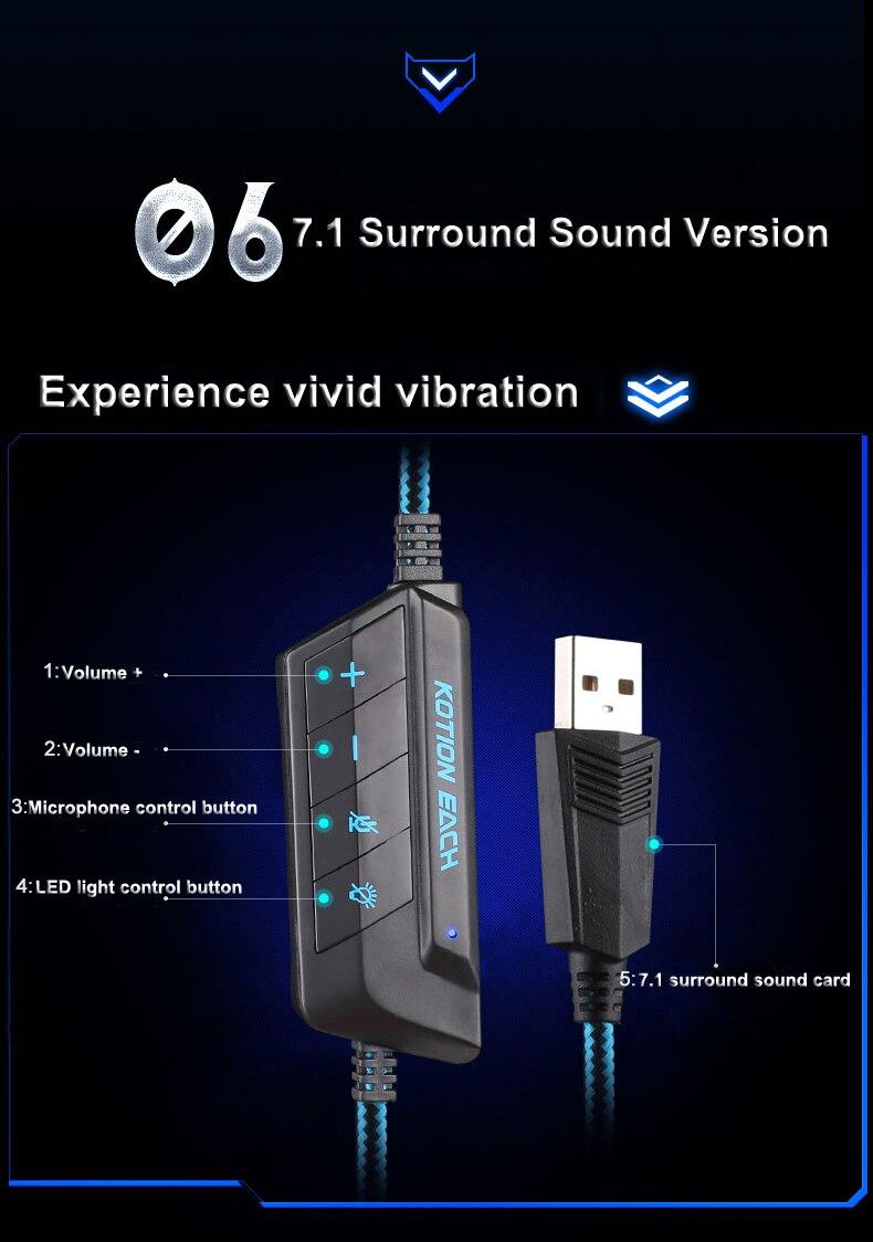 USB 7.1 Surround Sound Version Game Gaming Headphone 7
