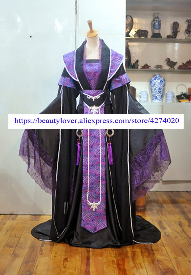 Purple Wide Sleeve Costume Hanfu for Childe or Prince Tailed Stage Performance Costume Hanfu  Men Cosplay Costume