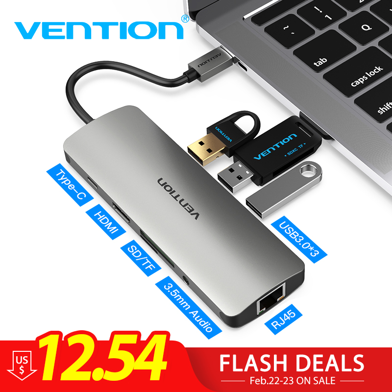 Vención de La Thunderbolt 3 Dock USB-C Centro de tipo C a HDMI USB 3,0 RJ45 adaptador para MacBook Samsung S8/S9 huawei P20 Pro adaptador de usb-c