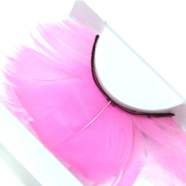 29d7094cdaa YOKPN Exaggerated Pink False Eyelashes Long Handmade Feathers Fake Eyelashes  stage Performance Latin Make-up Tools Eye Lashes