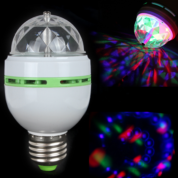 E27 Colorful RGB LED Stage Effect Light Bulb Auto Rotating Crystal Magic Ball LED Bulb Lamp for Disco DJ Party KTV Bar Club