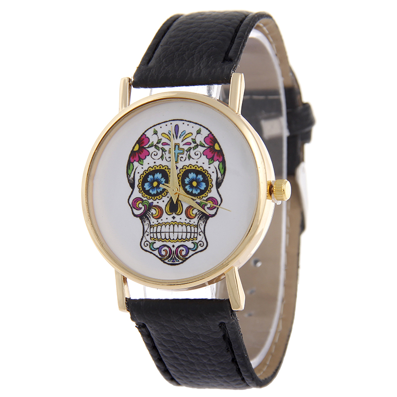 MEIBO Fashion 2016 Unisex Watches Women Men Casual Punk Skull Dial Leather Band Quartz Wrist Watch Hour Montre Femme Relogio