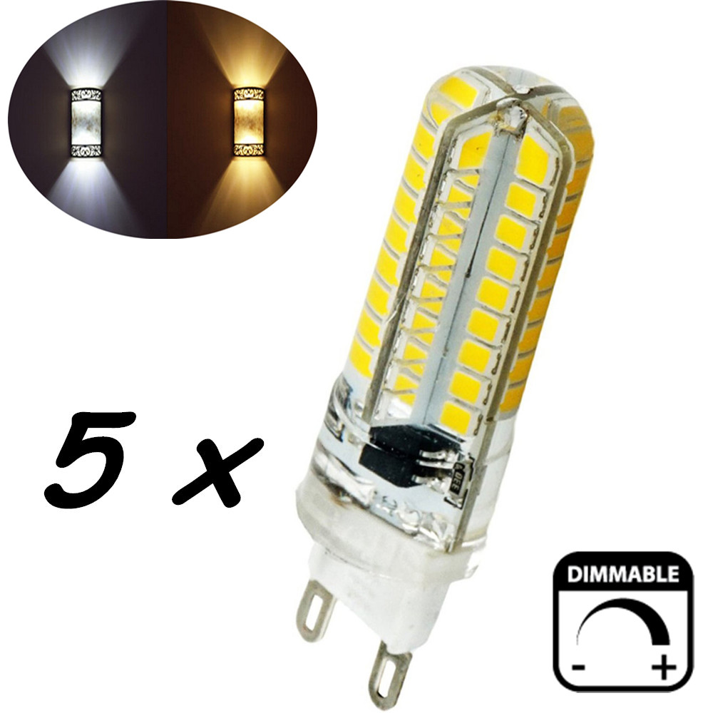 ᗖDimmable 5 Watts Silicone Coated G9 LED Light Bulb 360 Degree G9 ...