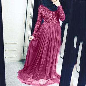 Image 2 - High Quality Elegant Muslim Evening Maxi Dress Cape Slim Muslim Party Dresses