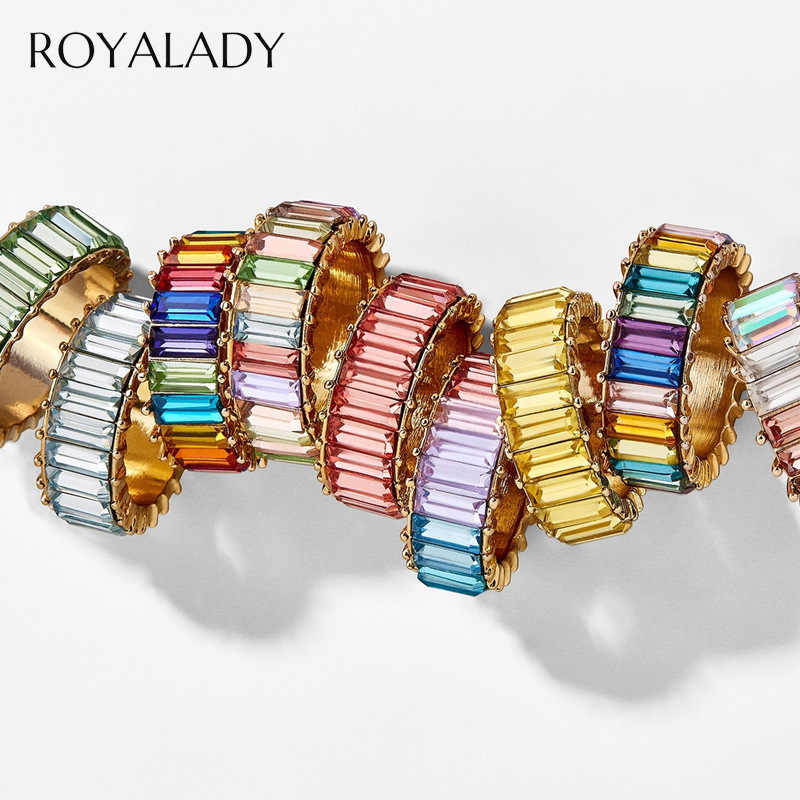 Fashion 3A Cubic Zirconia Ring For Women Men 2019 Bohemian Colorful Rainbow Ring Woman Diy Statement Rings Party Wedding Jewelry