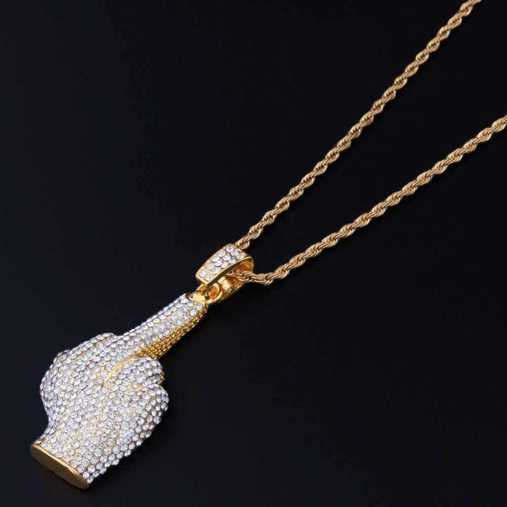 Tbtk ocidental estilo rua hiphop colar ereto médio dedo forma pingente ouro rock homem legal menina jóias pavimentadas cheio de zircão