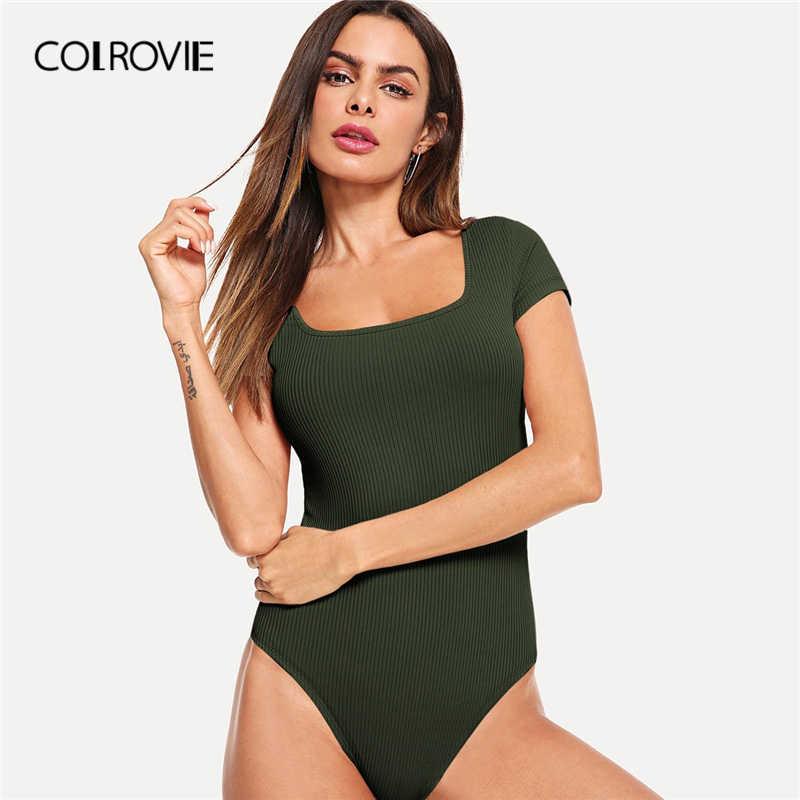 COLROVIE армейский зеленый квадратный вырез Тощий элегантный Трикотажный боди для женщин 2019 лето темно-синяя кепка рукав сексуальные женские боди