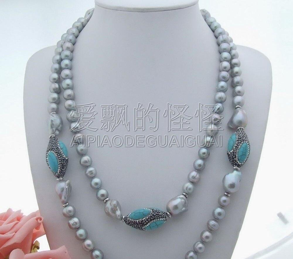 N062602 52 ''20mm gris Keshi perle Long collier