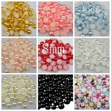 Free Shipping Many Colors 8mm 200Pcs Craft ABS Imitation Pearls Half Round Flatback Pearls Resin Scrapbook Beads Decorate Diy