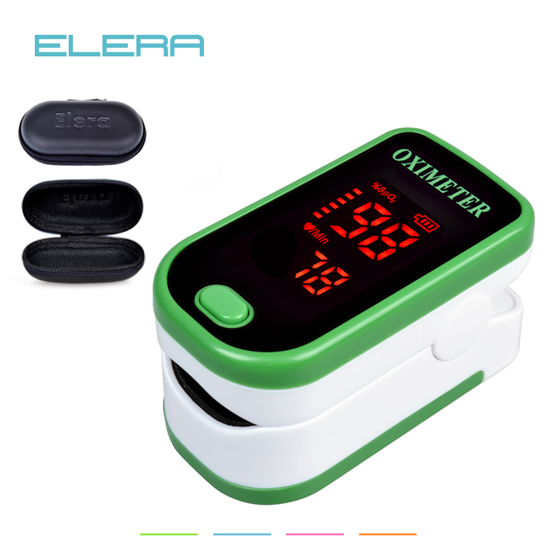 ELERA LED Fingertip Pulse Oximeter With Pouch Blood Oxygen SPO2 PR Saturation Portable Oximetro Monitor oximetro de dedo oled pulse finger fingertip oximeter blood spo2 pr heart rate monitor