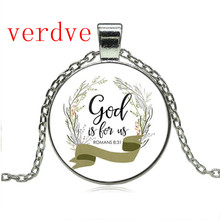 Romans 8 31 God is for us Bible Verse Necklace Glass Tile Charm Inspirational Fashion Jewelry Women Men Christian Gifts hot new romans 8 31 bible quote keychain if god is for us who can be against us verse christian nursery jewelry women men gifts