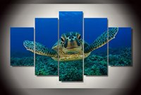 5 Pieces Blue Deep Sea Big Sea Turtle Painting Canvas Wall Art Picture Home Decoration Living