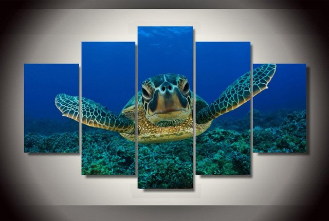 Rushed Time Limited 5 Pieces Deep Sea Big Turtle Painting Canvas Wall Art  Picture Home