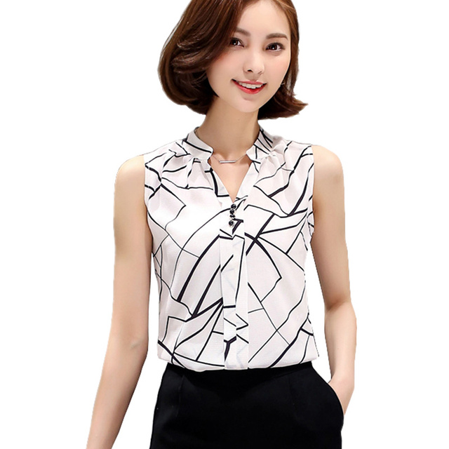 bb9308080fa56 Korean Fashion Clothing 2016 Summer Womens Sleeveless White Chiffon Blouse  Shirt Ladies Tops V-Neck Female Plus Size