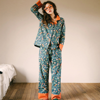 2 Pieces Set Shirt+Pant Patchwork Printed Flower and Cat Pajamas Women Soft and Loose Sleepwear Long Sleeve Homewear pijama sets