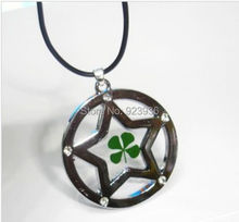 Free Shipping $48  50pcs cool summer real clover four leaf white stone design round style pendant