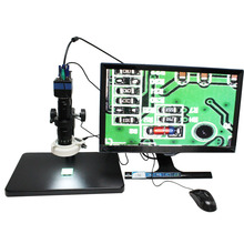Wholesale Mouse Control 2.0MP HD Digital Video Industry Microscope Camera Magnifier VGA Output Stand Ring Light + C-mount Lens for PCB Lab
