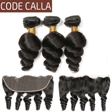 Code Calla Natural color Loose Wave Peruvian Salon 100% Unprocessed Raw Virgin hair bundles with 13*4 lace Frontal Free Shipping 6a peruvian virgin hair body wave 4 pcs unprocessed virgin peruvian hair body wave youwin hair peruvian body wave wholesale