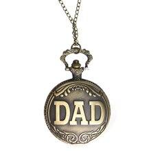 Wholesale 100pcs Lot Retro Bronze DAD Quartz Pocket Watch Fathers Day Gift FOB Watches Quartz Men Women Gift Free Shipping DHL