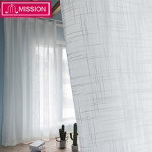 MISSION White Tulle Curtains for Bedroom Window Sheer Living Room Kitchen Modern Voile Curtain Blinds Drapes