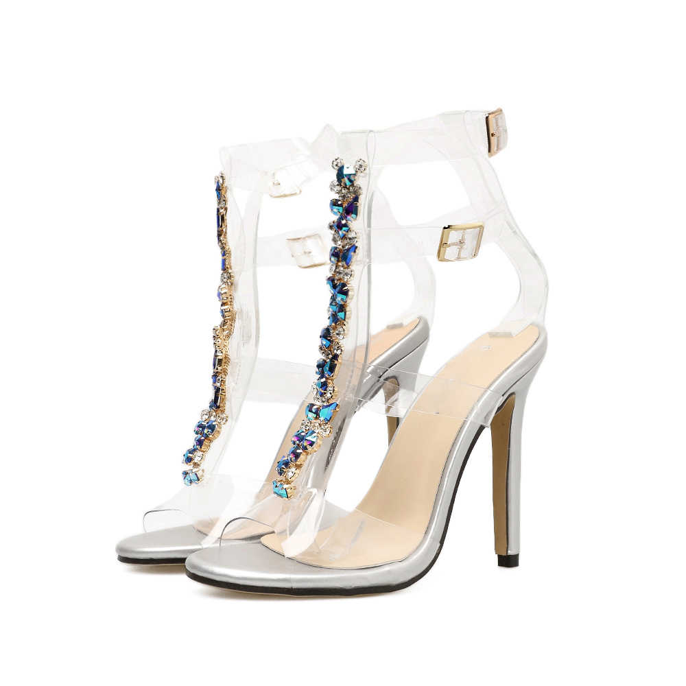 AIYKAZYSDL 2018 Sexy Transparent Women Sandals Crystal Sandals PVC Clear Sandals Three Strap Buckle Summer Sandalias Streetwear