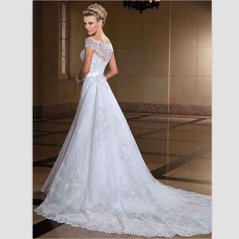 Aliexpress.com : Buy Romatic White Lace Wedding Dresses 2015 ...