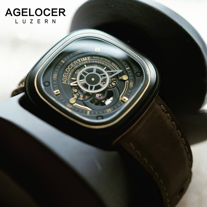 цена на Agelocer Luxury Brand Skeleton Mechanical Watches Mens Automatic Relogio Self Wind Luxury Genuine Leather Strap Men Sport Watch