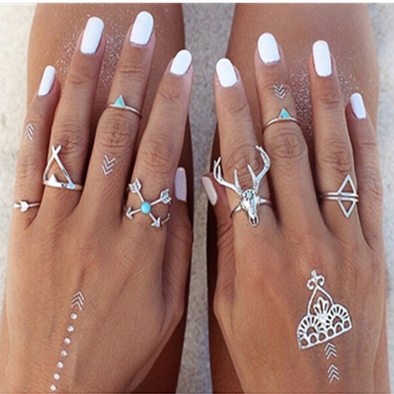 Bohemian Style 7pcs/Set Vintage Anti Silver Rings Moosehead Arrows Lucky Rings Set for Women Party Boho Free Shipping