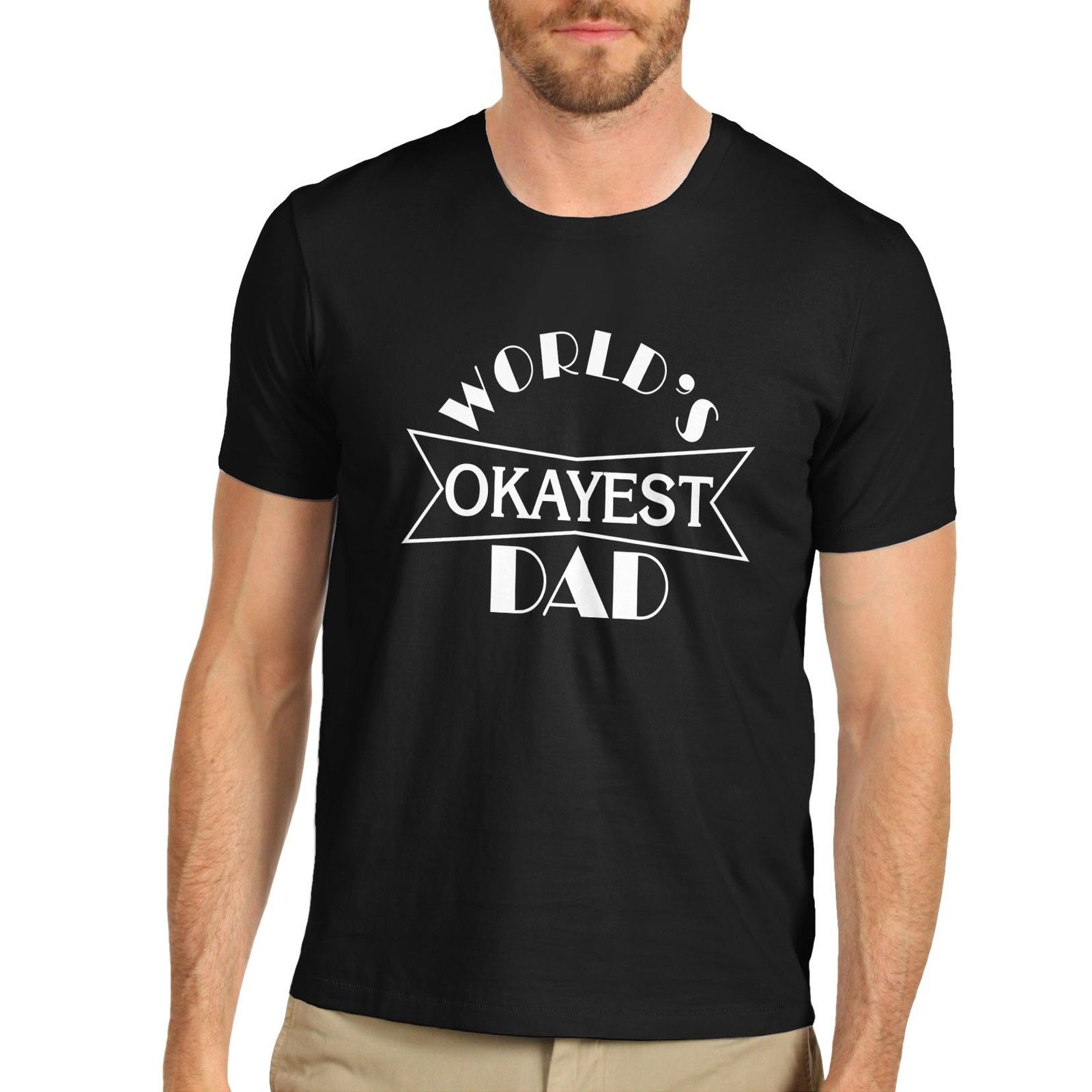 Mens Worlds Okayest Dad Funny Fathers Day T-Shirt