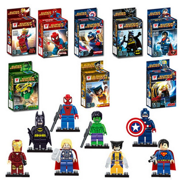 Super Heroes Figures 8pcs/lot Iron Man Hulk Batman Building Blocks Sets Superhero Minifigure Bricks Toys Compatible Legoe Marvel