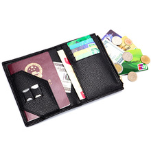 Leather Passport Cover Travel Real Leather Ultrathin Document Women's Wallett Credit Card Holder Mobile Card Long Purse Black