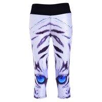 Pottis Mi-mollet Longueur de Pantalon Femmes Sexy Nouvelle Leggings Blanc Tigre Bleu Yeux 3D Impression Femmes taille Haute Pantalon pantalon