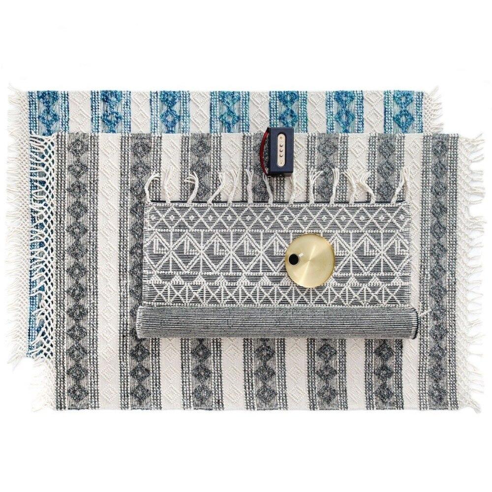 Tapis de chevet 3D en laine fait main de style nordique, tapis de table basse de salon, tapis de sol de décoration Pastorl