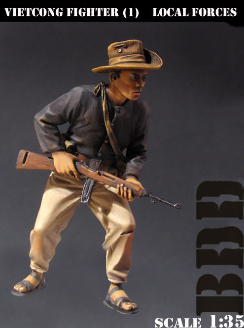 Assembly Unpainted Scale 1/35 Fighter Local Forces Vietnam War standing Historical toy Resin Model Miniature Kit image