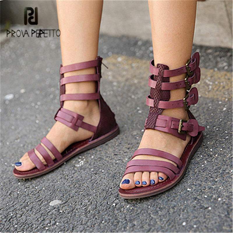 Prova Perfetto 2018 New Summer Sandals Genuine Leather Straps Gladiator Sandal Flat Beach Shoes Woman Sandalias Mujer fashion green women flat comfortable sandals rome vintage leather casual flat gladiator sandal summer shoe woman sandalias mujer