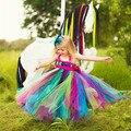 Новейшие радуга туту тюль ребенок невесты девушки цветка свадебное платье пушистый бальное платье США день рождения вечерние ткани платье