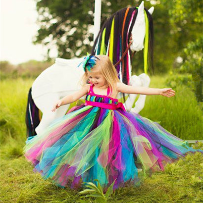 Newest rainbow tutu tulle baby bridesmaid flower girl wedding dress fluffy ball gown USA birthday evening prom cloth party dress silver gray purple pink blue ball gown tutu soft tulle puffy flower girl dress baby 1 year birthday dress with spaghetti straps