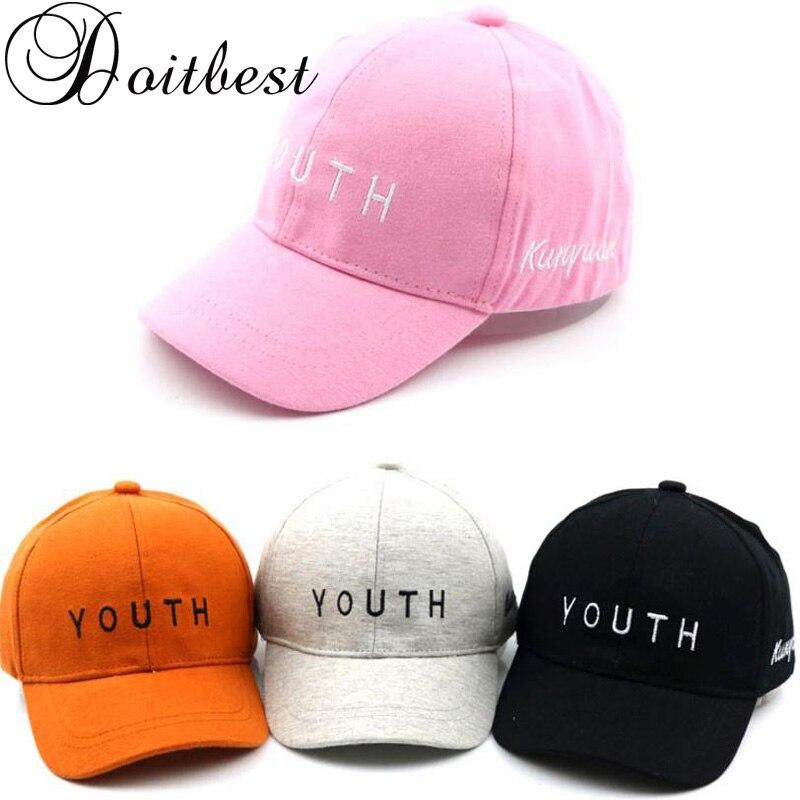 2018 Korea Children HipHop Caps YOUTH letters Child Baseball Cap Summer  kids Sun Hat Boys Girls