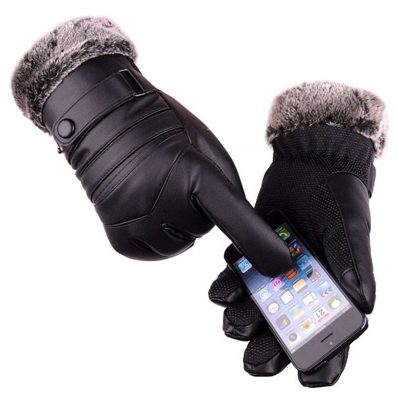 2017 winter mens long leather gloves wool knitted warm touchscreen gloves waterproof fur mittens. Black Bedroom Furniture Sets. Home Design Ideas