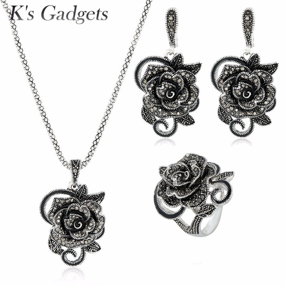 Parure Bijoux Femme Vintage Ring Necklace Earrings Statement Jewelry  Antique Silver Plated Retro Black Crystal Flower
