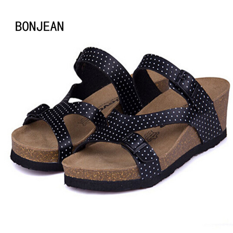 Fashion Women Sandals Wedges Cork High Heels Shoes Gladiator Beach Shoes Summer Slippers Zapatos Mujer Sandalias Plus Size35-40 2017 summer new rivet wedges sandals creepers women high heel platform casual shoes silver women gladiator sandals zapatos mujer