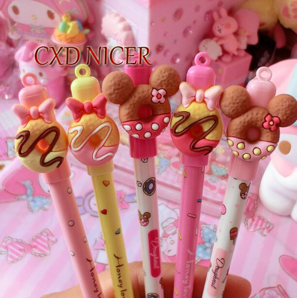 Chocolate Mini Donut With Bow Mouse Head Gel Pen Delicious Simulation Sweet Cake School Supplies Stylo Pen Chancellory Pens