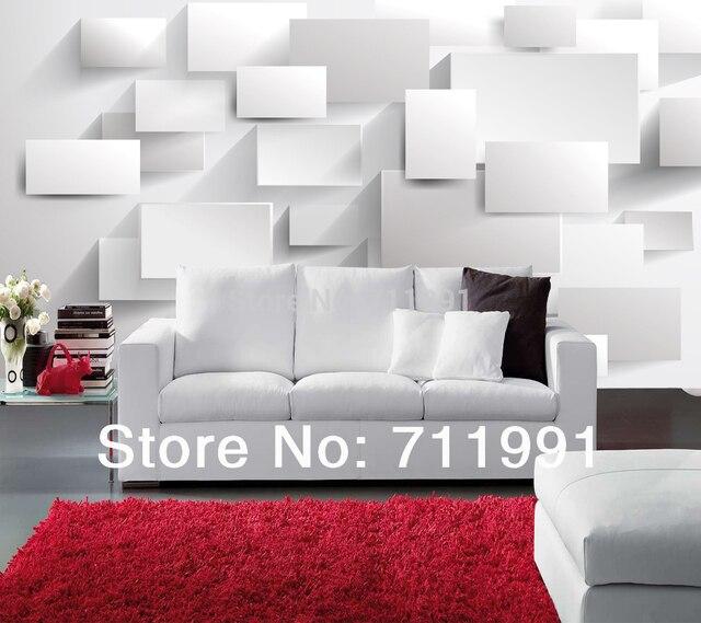Kustom modern wallpaper kotak 3d foto mural untuk kamar for Mural untuk cafe