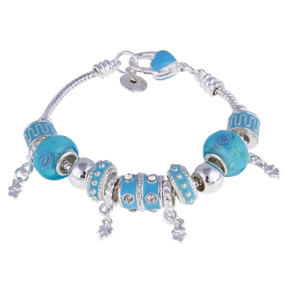 ZOSHI Pink Crystal Charm Silver Bracelets & Bangles for Women With Aliexpress Murano Beads Silver Bracelet Femme Jewelry 18