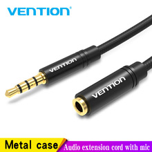 Vention cabo jack aux adaptador de áudio, cabo de extensão de áudio de 3.5mm para huawei p20, stereo, cabo aux, para fones de ouvido xiaomi samsung