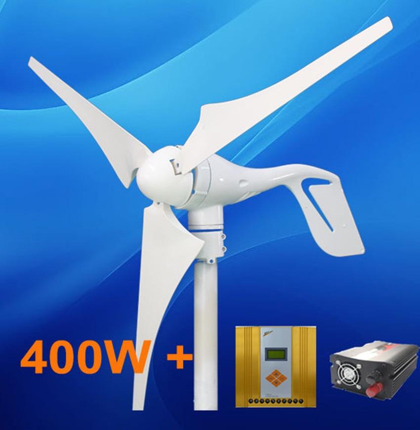 400W Wind turbine Generator Power System + Hybrid 600w Wind Solar Controller + 500w inverter free shipping max power 700w wind generator wind solar hybrid controller 600w wind 300w solar for home using sailing